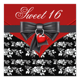 Red Rose Red Black White Sweet 16 Birthday Party Card