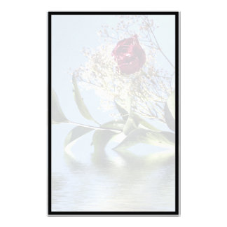 Red Rose & Reflection Custom Stationery