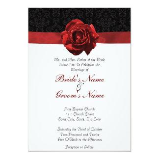 Red Rose & Ribbon 13 Cm X 18 Cm Invitation Card