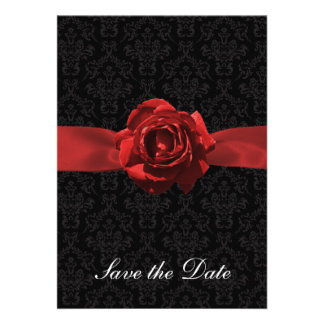 Red Rose Ribbon Personalized Announcement