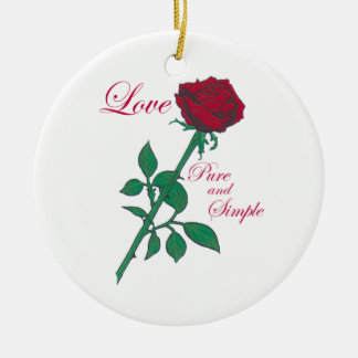 Red Rose Round Ceramic Decoration