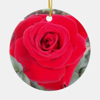 Red Rose Round Ceramic Decoration