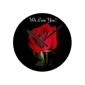 Red Rose Round Clock