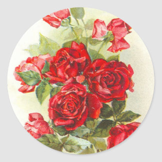 red rose round sticker