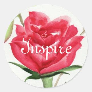 Red Rose Round Sticker