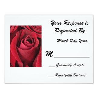 Red Rose RSVP Card 11 Cm X 14 Cm Invitation Card