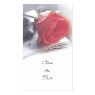 Red Rose Save the Date Announcement Business Cards