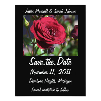 """Red Rose Save the Date Announcement 4.25"""" X 5.5"""" Invitation Card"""