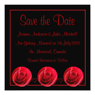 Red Rose Save the Date Invitation