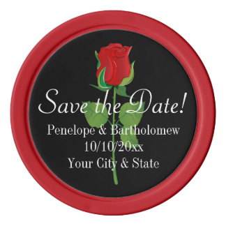 Red Rose Save the Date Personalized Favor Coin Set Of Poker Chips