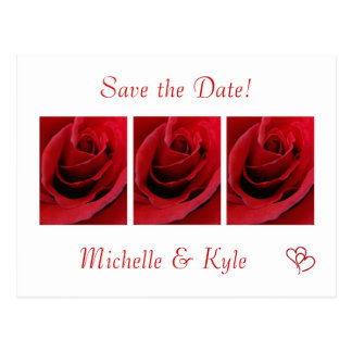 Red Rose Save the Date Postcard