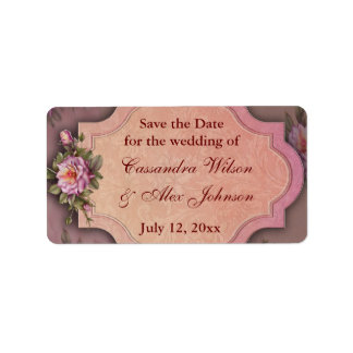 Red Rose Save The Date Wedding Address Labels