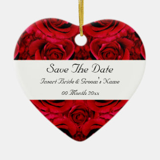 red rose save the date wedding invitations elegant ceramic heart decoration