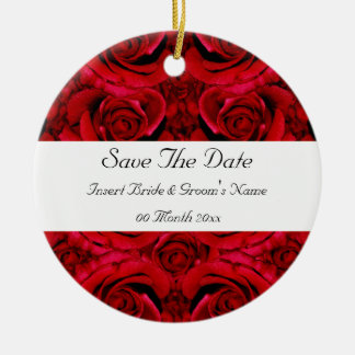red rose save the date wedding invitations elegant round ceramic decoration