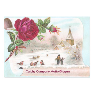 Red Rose Scroll Victorian Trade Card Pack Of Chubby Business Cards