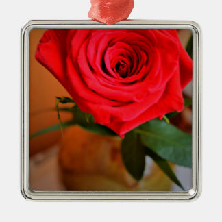 Red Rose Silver-Colored Square Decoration