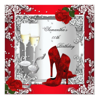 "Red Rose Silver High Heel Shoes Any Age Party 5.25"" Square Invitation Card"