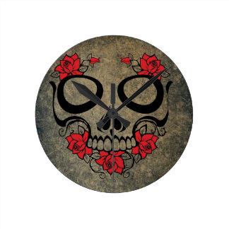 Red Rose Skull Clock