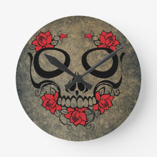 Red Rose Skull Round Clock