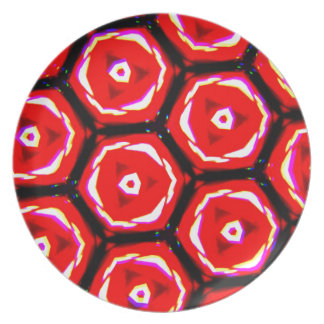 Red rose style honeycomb pattern dinner plate