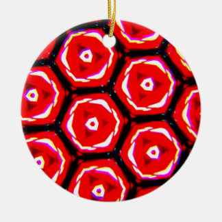 Red rose style honeycomb pattern round ceramic decoration