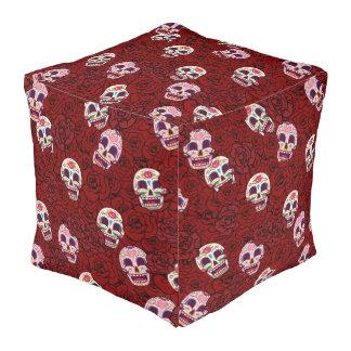 Red Rose Sugar Funny Skull Pouf