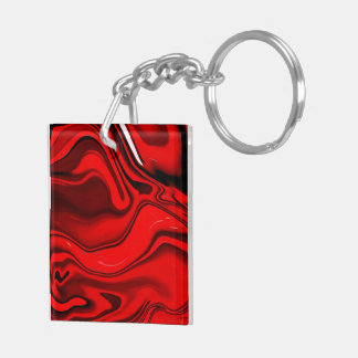 Red Rose Swirl Abstract Key Ring