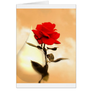 Red Rose & Teardrop photo Card