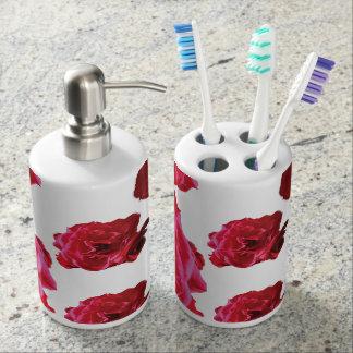 Red Rose Toothbrush Holder and Soap Dispenser Set