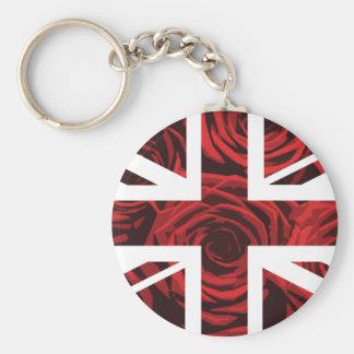Red Rose Union Jack British(UK) Flag Keychain