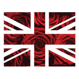 Red Rose Union Jack British UK Flag Postcard