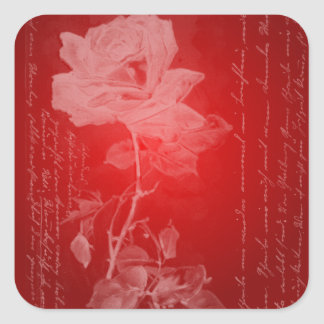 Red Rose Valentine Square Sticker