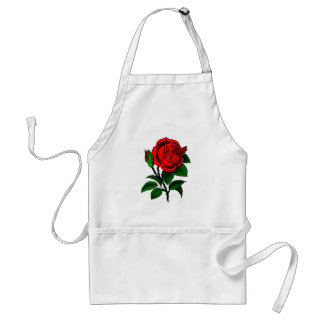 Red Rose - Vintage Style Drawing of Flower Standard Apron