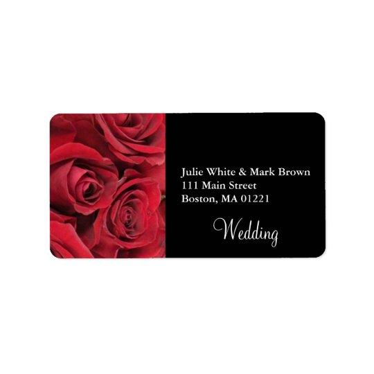 Red Rose Wedding Address Label