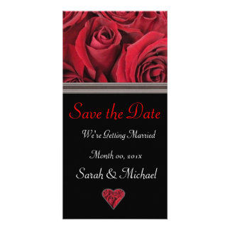 Red Rose Wedding Announcement Card Custom Photo Card