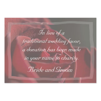Red Rose Wedding Charity Favor Card Pack Of Chubby Business Cards