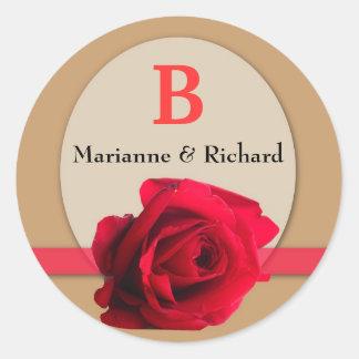 Red Rose Wedding Envelope Seal : Gold Monogram Round Sticker
