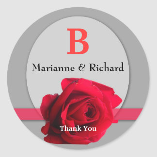Red Rose Wedding Envelope Seal : Silver Monogram Round Sticker