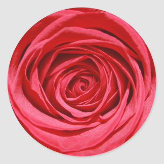 Red Rose Wedding Flowers Glossy Floral Patterns Round Sticker