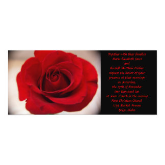 Red Rose Wedding 10 Cm X 24 Cm Invitation Card