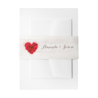 Red rose wedding invitation belly bands hhn01 invitation belly band