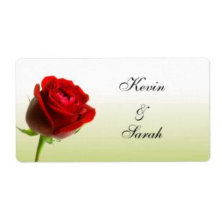 Red Rose Wedding Labels