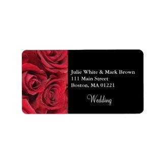 Red Rose Wedding Return Address Label