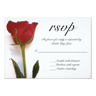 Red rose wedding RSVP Card