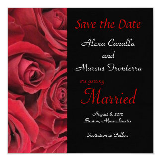 """Red Rose Wedding Save the Date Announcement Card 5.25"""" Square Invitation Card"""