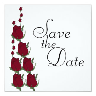 Red Rose Wedding Save The Date Announcements