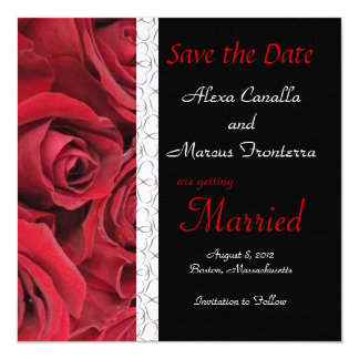 Red Rose Wedding Save the Date Card Personalized Invites