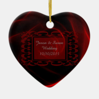 Red Rose wedding save the date Ceramic Heart Decoration