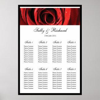 Red Rose Wedding Table Seating Plan Poster