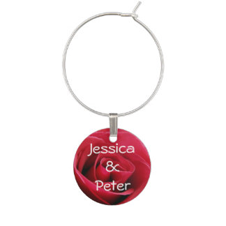 Red Rose Wine Charm
